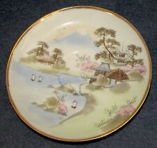 Oriental Saucer wiith Gold Rim and Mountain, Lake and Pagodas