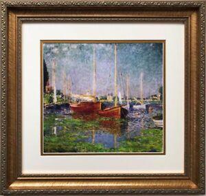"Claude Monet ""Argenteuil '1875"" CUSTOM FRAMED Art Impressionism Boats"