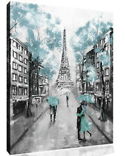 Duck Egg Blue Black & White Paris Oil Painting Canvas Wall Art Picture Print
