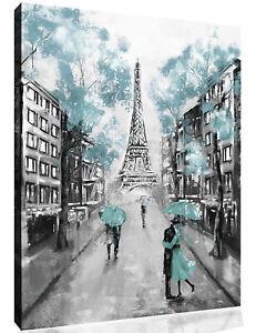 Duck Egg Blue Black & White Paris Oil Painting Canvas Wall Art Picture Print