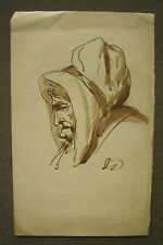 More details for victorian ink sketch of an old lady, probably by scottish artist, james drummond