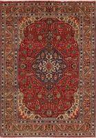 Excellent Vintage Geometric Tebriz Classic Hand-Knotted Area Rug 7'x10' Carpet