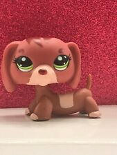 Littlest Pet Shop LPS Tan & Brown DACHSHUND #3601 Green eyes mom dog curl