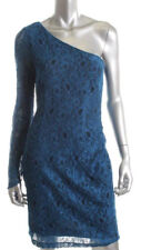 Andrew Marc ~ Blue Lace One Shoulder Drama Sleeve Sheath Party Dress 12 NEW $148