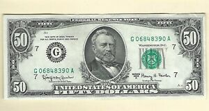Series 1963 A $50 Fifty Dollars Circulated Currency FRN Paper Money Chicago IL