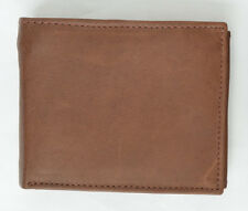MENS BROWN  LEATHER WALLET  BIFOLD Free Shipping New Credit Card Holder Genuine