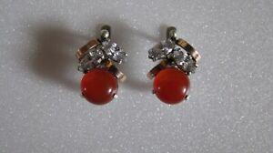 Vintage Russian Earrings  Sterling Silver 925, Gold 375, cornelian stone