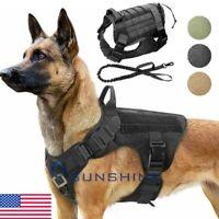 NEW Tactical Police K9 Training Dog Harness Military Adjustable Nylon Vest Leash