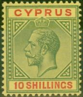 Cyprus 1923 10s Green & Red-Pale Yellow SG100 Superb MNH Brandon Certificate
