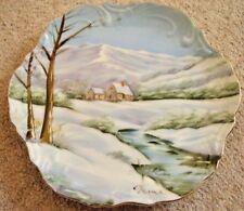 Saxony Germany porcelain plate,hand painted,Winter,signed