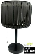 Lytworx Rattan Look 43cm Solar Powered Table Lamp White LED 2 Light Settings