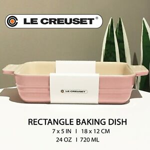 New LE CREUSET Stoneware Rectangle Baking Dish Pink 5x7 in / 24 oz / 720 ml