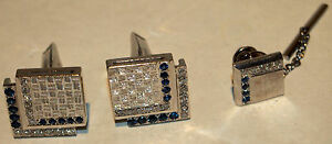 TIIFFANY & CO 3 PC  RARE PLATINUM ,SAPPHIRE & DIAMOND  CUFFLINKS & TIE TAC /BOX