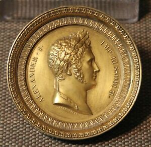 19th c. Gilt Copper Portrait Profile Medallion of Alexander I of Russia by Galle