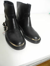 ZARA LEATHER  BOOTIES WITH METAL BUCKLE AND TOE CAP Size 40