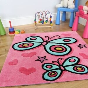"Girl's Pretty Pink Butterfly Cute Decorative Soft Kid's Rug - 2'11"" x 2'11"""