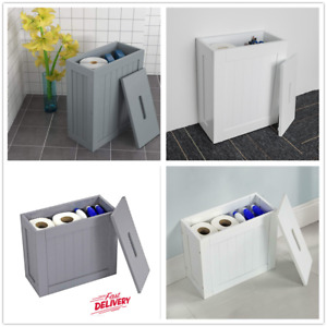 Bathroom Tidy Box Toilet Roll Cleaning Product Small Storage Unit White Christow