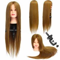66cm Marron Long Cheveux Humains Mannequin Coiffure Training Tête Modèle + +A