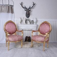 Stuhlset Barock Stühle Stuhl Rosa Gold zwei Armlehnstühle Barocksessel Antik