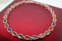 18K Yellow gold GF Solid Oval Colorful Gemstone Women's bracelet 7' 18cm