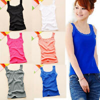Fashion Summer Women Lace Vest Top Sleeveless Casual Tank Blouse Tops T-Shirt US