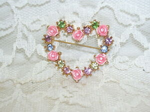 Heart Pin with Pink Roses and Pastel Gems by Avon