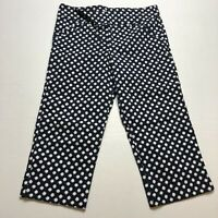 Margaret M Slimming Pant Dark Blue White Spot Print Cropped Pants Sz M A601