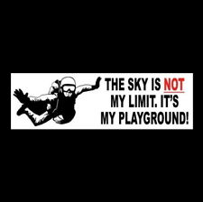 """""""THE SKY IS NOT MY LIMIT"""" skydiver in goggles & parachute STICKER skydiving NEW"""