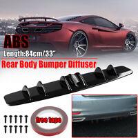 Universal Car Shark Fin Wing Lip Rear Bumper Diffuser Spoiler Gloss Black
