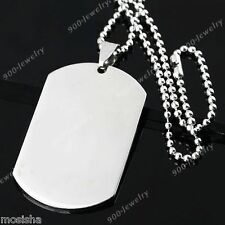 Tag Blank Pendant Chain Necklace 1pc Punk Silvery Polish Stainless Military Dog