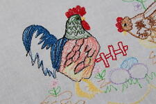 THE ROMANTIC HEN & ROOSTER COUPLE IN SPRING GARDEN! VTG GERMAN EASTER TABLECLOTH
