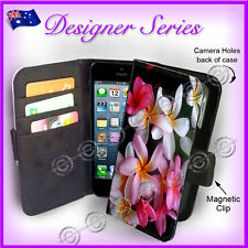 Apple iPhone 5C WALLET Flip Cover Frangipani Pretty Ladies Pink Flowers 85