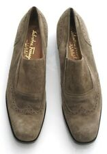 SALVATORE FERRAGAMO SHOES SPORT BEIGE SUEDE U1058 27 Ladies Size 8 3A ITALY