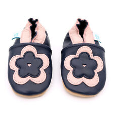 Soft Leather Baby Girl Shoes With Suede Soles by Dotty Fish Navy and Pink Flower