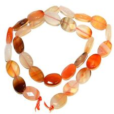 NG2557f Red Agate 14x10mm Faceted Flat Oval Gemstone Beads 15""