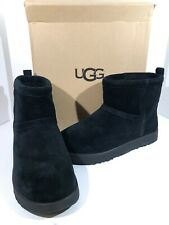 UGG 1019643 Classic Mini WP Women's Size 10 Black Suede Shearling Boots X1-300
