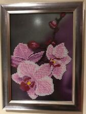 Bead Embroidery painting - Handmade art in Ukraine - floral design - Orchids