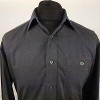 Lacoste Mens Vintage Shirt 40 (MEDIUM) Long Sleeve Graphite Regular Fit Cotton