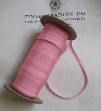 """10 Yards Vintage Tiny Rayon Baby Pink Taffeta Ribbon Antique Doll 1/8"""" Lampshade"""