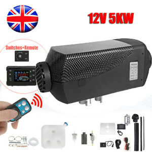 12V Air Diesel Night Heater 5KW Remote LCD For Car Truck Motor Boat ALL BLACK