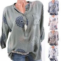 Womens Summer V-Neck Long Sleeve Baggy Shirt Ladies Casual Tops Blouse Plus Size
