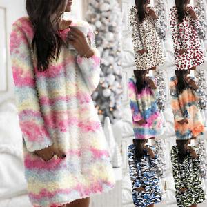 Women Fleece Teddy Bear Jumper Dress Ladies Tie Dye Lounge Wear Nighwear Pajamas