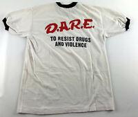 D.A.R.E Vintage T-Shirt Ringer - White & Black - Platinum Plus DARE  - Size L