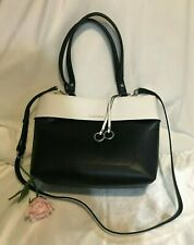b2a51fb6f3 Calvin Klein Patty Faux Leather East   West Tote Fashion Bag Black White  Travel