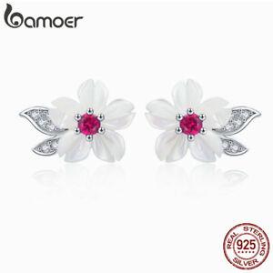 BAMOER Women shell flower Stud Earrings 925 Sterling silver Fashion Jewelry Gift