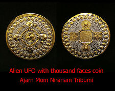 Real Thai Amulet Holy Alien UFO with thousand faces coin Strong Power Aj Mom