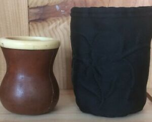 Authentic African Gourd with Padded Pouch. Vintage. Collectable