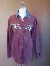 BOBBY BROOKS Christmas Top Button Up Shirt Red Flannel Denim Collar EMBROIDERY M