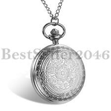 Vintage Pocket Watch Quartz Pendant Necklace Steampunk Carved Pattern 24H Dial