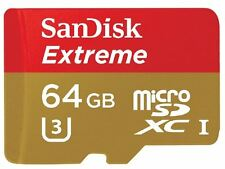 64GB SanDisk Extreme Micro SD Card 90MB/s UHS-I U3 Class 10 + adap for GoPro 3&4